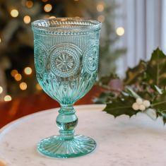 Vintage Turquoise Embossed Wine Goblet