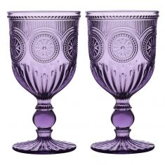 Pair of Lavender Embossed Goblets