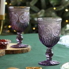Pair of Lavender Embossed Goblets