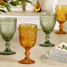 Set of 4 Botanic Embossed Wine Goblets