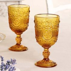 Pair of Amber Embossed Goblets