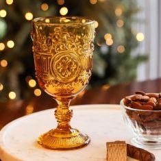 Vintage Amber Embossed Wine Goblet Glass