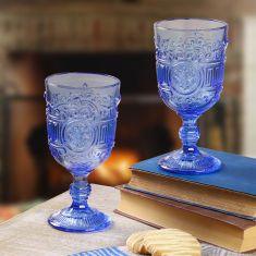 Pair of Azure Blue Embossed Goblets