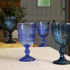 Set of 4 Vintage Style Blue Embossed Wine Goblets