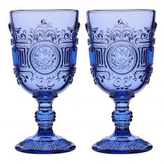 Pair of Azure Blue Embossed Goblets