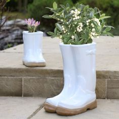 Little and Large White Welly Pot Planters