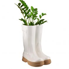 White Wellington Boots Planter