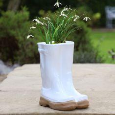 White Wellington Boots Planter