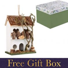 White Country Cottage Bird Hotel