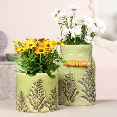 Fern Green Ceramic House Planter and Vase
