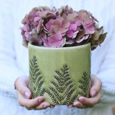 Forest Green Fern Ceramic Planter