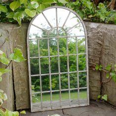 Distressed Finish Arched Garden Mirror