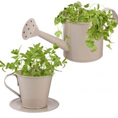 Muddy Grey Watering Can Planter and Teacup Planter Set