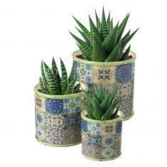 Set of 3 Vintage Mosaic Print Flower Pots