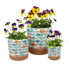 Set of 3 Nautical Style Printed Flower Pots