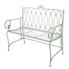 Pistachio Green Scrolled Back Garden Bench