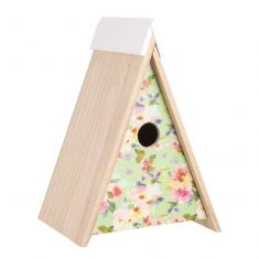 Scandi Floral Wooden Wall Mounted Birdhouse