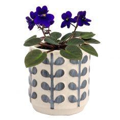 Petite Botanical Leaf Washed Blue and White Plant Pot