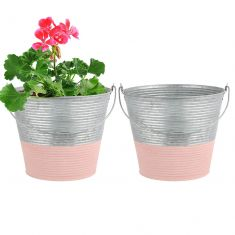 Set of 2 Rose Pink Zinc Dipped Planter Buckets