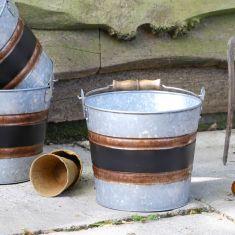 Black Band Bucket Planter