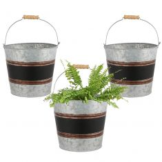 Set of 3 Black Band Bucket Planters