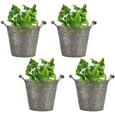 Set of Four Embossed Zinc Herb Planters