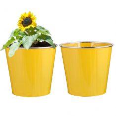 Set of 2 Sunshine Yellow Bucket Flower Pots