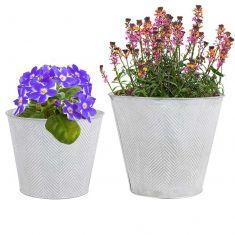 Set of 2 Embossed Zinc Flower Pots