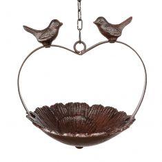 Hanging Heart Antique Brown Bird Dish