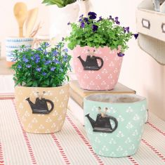Set of 3 Rustic Watering Can Flower Pots