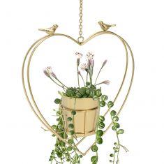 Gold Hanging Heart Planter