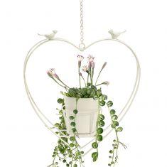 White Hanging Heart Planter