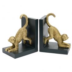 Heavyweight Gold Monkey Bookends