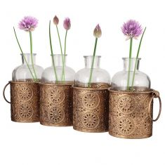 Four Compartment Moroccan Bud Vase Set