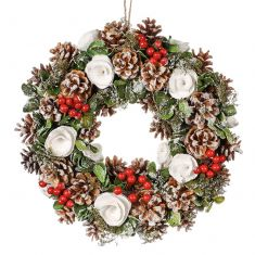 White Berries and Roses Winter Wreath 14