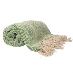 Green Cotton Blend Picnic Blanket