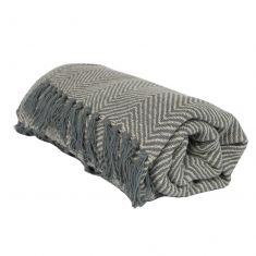 Grey Cotton Blend Picnic Blanket