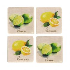 Set of 4 Ceramic Lemon & Lime Coasters