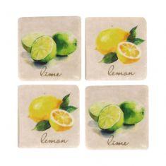 Set of 4 Ceramic Lemon & Lime Coasters