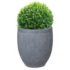 Large Grey Rippled Bucket Planter