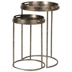 Set of 2 Nesting Gold Tray Tables