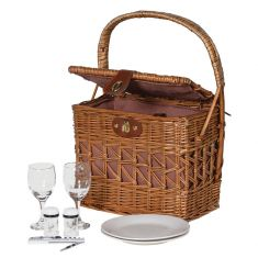 Luxury 2 Willow Wicker Picnic Hamper with Bottle Holders