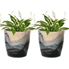 Set of 2 Hand Painted Ceramic Wave Flower Pots