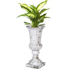 Tall Distressed Finish Ceramic Urn Planter