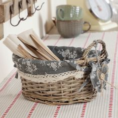 Oval Wicker Woven Basket with Floral Lining