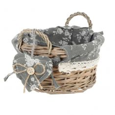 Round Wicker Woven Basket with Floral Lining