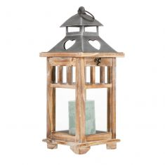 Rustic Wooden Lantern with Heart Roof