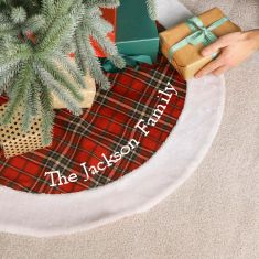 Personalised Snow Tips Highland Christmas Tree Skirt