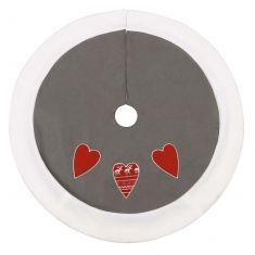 Grey Nordic Heart Christmas Tree Skirt