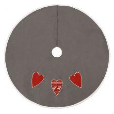 Snow Grey Nordic Heart Christmas Tree Skirt